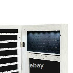 Door Mount Mirrored Jewelry Cabinet Lockable Armoire Organizer withLED Lights New