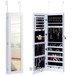 Door Mounted Hanging Mirror Jewelry Cabinet Armoire Storage Box Lock LED Lights