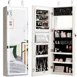 Door Wall Mount Touch Screen LED Light Mirrored Jewelry Cabinet Storage Lockable