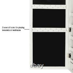 Door/Wall Mounted Mirror Jewelry Cabinet Armoire Storage Box with LED Lights Keys