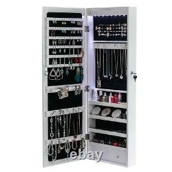 Door or Wall Mounted Jewelry Cabinet Box to Store Jewelry with Mirror for Women