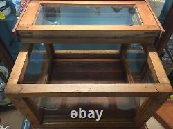 EARLY GRAIN PAINTED STORE COUNTER TOP DISPLAY CASE FULL VIEW WithTOP OPENING DOORS