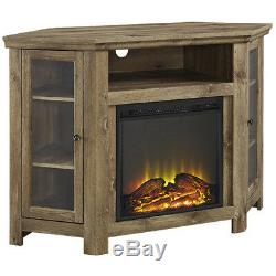 Electric Fireplace Corner 55 TV Stand Media Console Cabinet Barn Wood Finish