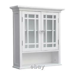 Elegant Home Fashions Albion Bathroom Storage Wall Cabinet Double Doors White