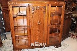 English Antique Art Deco Oak Bookcase with Glass Doors Display Cabinet