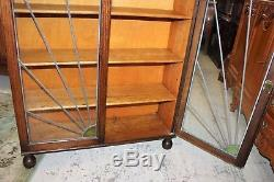 English Antique Oak Art Deco Leaded Glass Door Bookcase / Display Cabinet