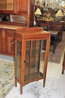 English Antique Oak Arts & Crafts Glass Door Display Cabinet / Small Bookcase