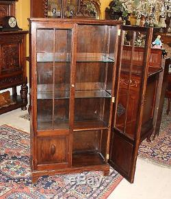 English Antique Oak Two Glass Door Tall Narrow Wooden Bookcase Display Cabinet