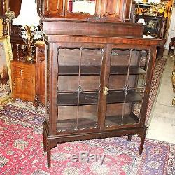English Antique Solid Mahogany Glass Door Display Cabinet Small 3 Shelf Bookcase