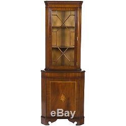 English Antique Style Small Tall Glass Door Inlaid Corner Cabinet Cupboard Hutch