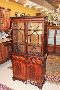 English Flamed Mahogany Wood Tall Glass Door Bookcase Display Cabinet with Key