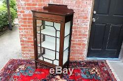 English Mahogany Wood Single Glass Door Small Display Cabinet with 3 Shelves Key