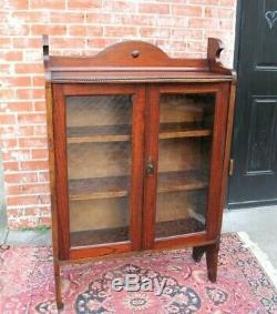 English Oak Arts & Crafts Glass Door Bookcase / Display Cabinet