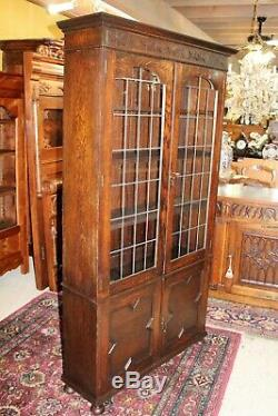 English Solid Oak Jacobean Leaded Glass Door Bookcase / Display Cabinet