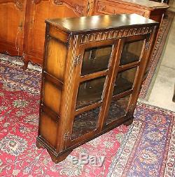 English Solid Oak Wood Antique Small Glass 2 Door Bookcase Display Cabinet