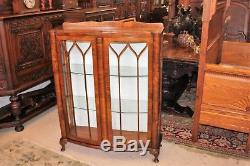 English Walnut Queen Anne Glass Door Display Cabinet Small Bookcase Furniture