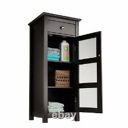 Espresso Wooden Floor Cabinet 3 Tier Narrow Towel Storage Door Bathroom Drawer