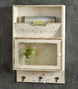 FARMHOUSE CHIPPY CREAM CABINET With GLASS DOOR 3 HOOKS COTTAGE Wood Distressed