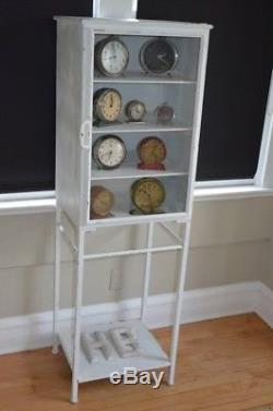 FREE SHIPPING! Midcentury Medical Apothecary Cabinet White Steel Glass Door