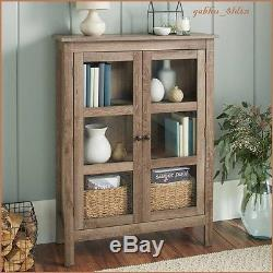 Farmhouse Library Cabinet Glass Door Weathered Gray Wood Grain Home Office