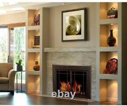 Fireplace Doors 3/16 in. Smoked Tempered Glass Large Cabinet-Style Surface-Mount