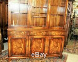 Flamed Mahogany Bevan Funnell 3 Glass Door Display Cabinet / Bookcase