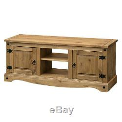 Flat Screen TV Television Unit Shelf Table 2 Two Door Storage Wood Wooden Corona