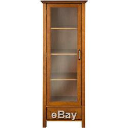 Floor Cabinet Curio Case Display Storage Drawer Glass Doors Oil Oak Finish