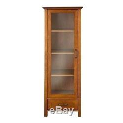 Floor Cabinet Curio Case Display Storage Drawer Glass Doors Oil Oak Finish New