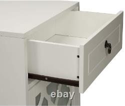 Floor Cabinet Night Stand Small White Wood With Glass Doors Top Drawer Storage