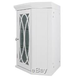 Florence Corner Wall Cabinet with Glass Door in White for Bathroom Storage