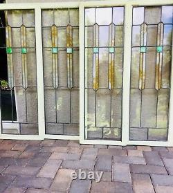 Four Leaded & Stained Glass Cabinet or Bookcase Door Inserts