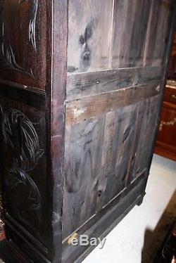 French Antique Carved Oak Brittany Glass Door Bookcase / Display Cabinet