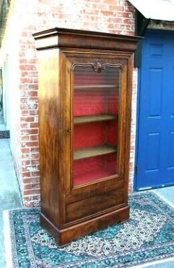 French Antique Louis Phillipe Burled Walnut Glass Door Display Cabinet/Bookcase