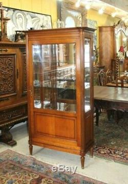 French Antique Louis XVI Maple wood Glass Door Display Cabinet with 3 Shelves