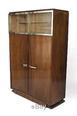 French Art Deco Rosewood Vitrine/Bar Cabinet with to Glass Top Sliding Doors