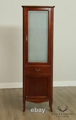 French Art Deco Style Narrow Cherry, Frosted Door Bathroom Cabinet