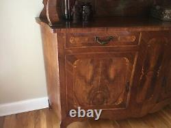 French Sideboard/ Cabinet With Beveled Glass Doors 88tall 64Wide 20