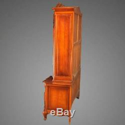 French Style Carved Oak Double Glass Door Breakfront Cabinet, 20th Century