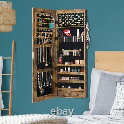 Full-Length Mirror Jewelry Armoire Door Wall Mounted Cabinet Organizer Dressing