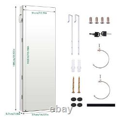 Full Length Mirror Wall Door Mounted Jewelry Cabinet Organizer Storage With LEDs