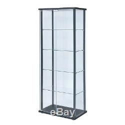 Glass Curio Cabinet Tower Door Display Living Room Shelves Showcase Collectibles