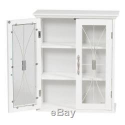 Glass Front Wall Cabinet White Bathroom Shelves Dining Room Decor Storage 2 Door