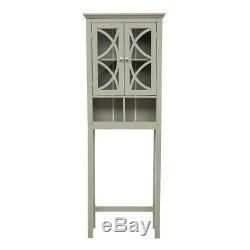 Glitzhome 68'' Wooden Free Standing Storage Cabinet with Glass Double Doors Gray