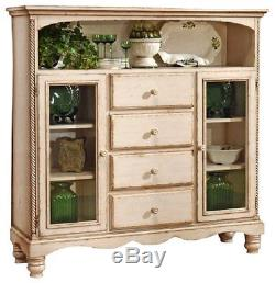 HILLSDALE WILSHIRE Cottage Antique White Bakers Cabinet Glass Doors 4 Drawers