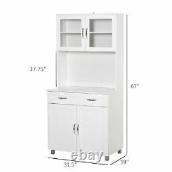HOMCOM Modern Kitchen Pantry with Buffet Cabinet with Framed Glass Doors, White