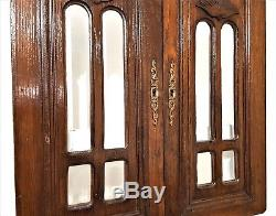 Hand Carved Wood Cabinet Panel Door Pair Antique French Beveled Glass Cupboard