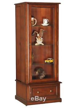 Hidden Gun Cabinet for Rifles Curio Wood Display Case with Glass Door Lighted