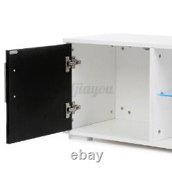 High Gloss Door TV Stand Cabinet Unit with LED Lights Shelf Entertainment Center