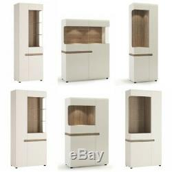 High Gloss White Display Cabinet Glass Sideboard Storage Shelves Furniture Unit